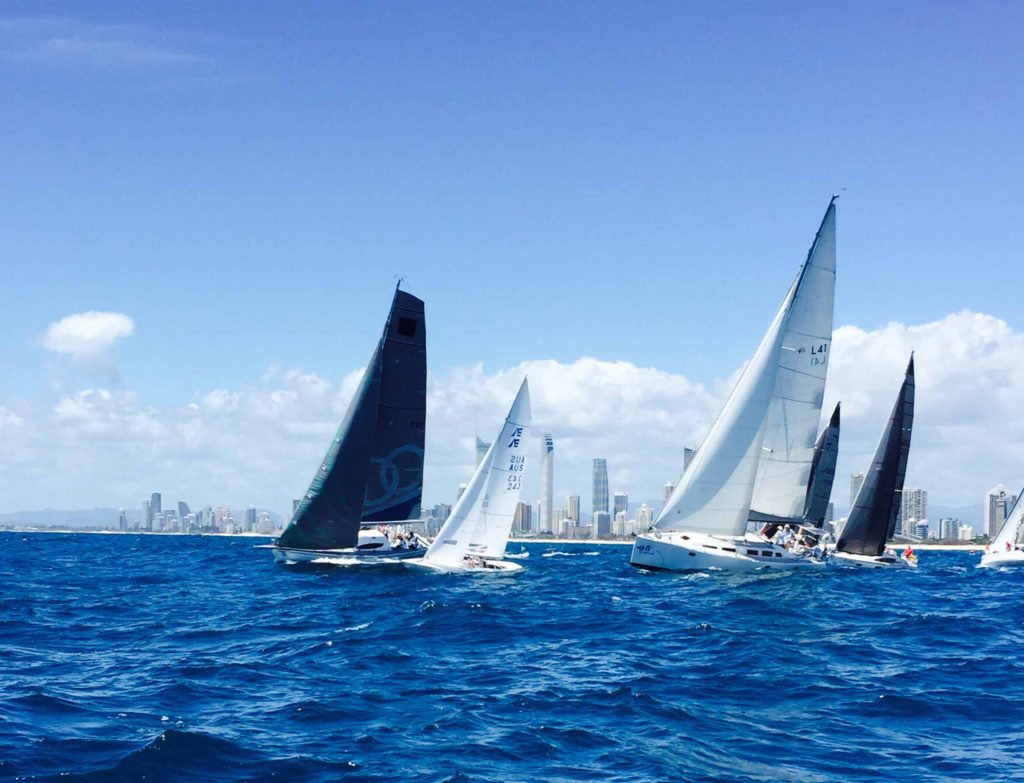 Wayne Kirby's Etchell, Grape Juice taking on David Chadkirk's 50ft, Cyclone on the start line of PHS Division 1 LR